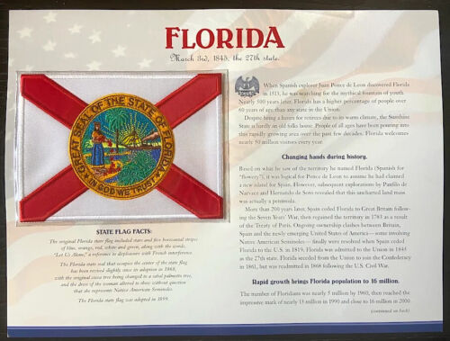 FLORIDA ~ Willabee & Ward STATE FLAG PATCH INFO CARD ~ United States Collection
