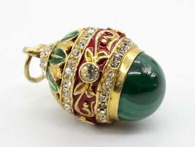 Vintage Russian-Style + Faberge-type Enameled Gold Tone Egg Pendant w/ Malachite for sale  Portland