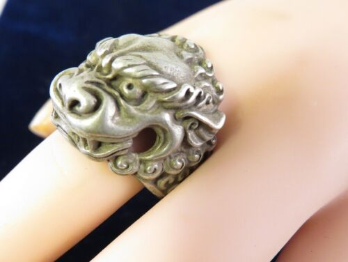 RARE ANTIQUE CHINESE LION FOO DOG RING SILVER SIGNED SZ 9