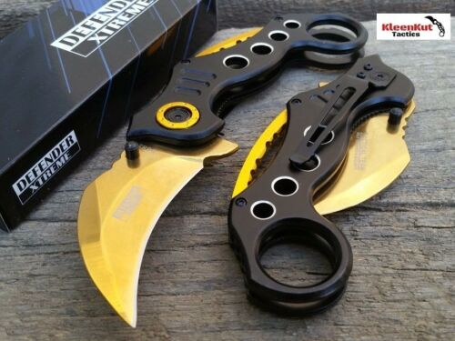 NEW Spring Assisted BLACK GOLD KARAMBIT Folding Knife CLAW TACTICAL Finger Hole