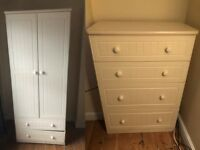Cream wardrobe ( shaker style) 2 Drawers at Base & Chest of Drawers : Good Used Condition!