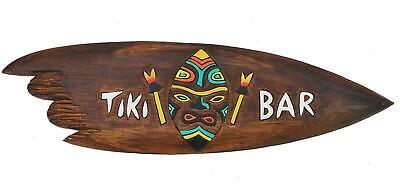 Surfboard 100cm mit Tiki Bar Aufschrift Surfbrett Deko im Hawaii Maui Style