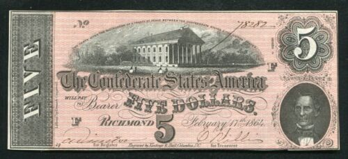 T-69 1864 $5 FIVE DOLLARS CSA CONFEDERATE STATES OF AMERICA CHOICE UNCIRCULATED