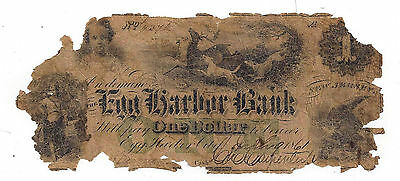 1861 The Egg Harbor Bank  Nj   One Dollar Obsolete Note No 4376