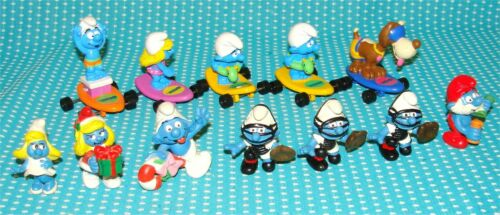 12 Vtg Smurf Figure Lot Smurfette Surf Board Baseball Catcher Xmas Dog Peyo Toy