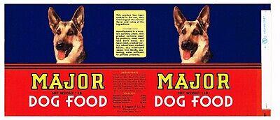 OLD VINTAGE CAN LABEL RARE DOG FOOD 1960S GERMAN SHEPHERD MAJOR CINCINNATI OHIO