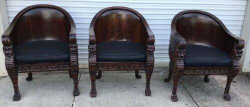 (LOT OF 3) Massive Antique Asian Carved Lion Wooden Chairs - PRE OWNED