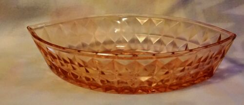 Vintage Jeannette Depression Glass Pink Wiindsor Diamond Boat Bowl Excellent !