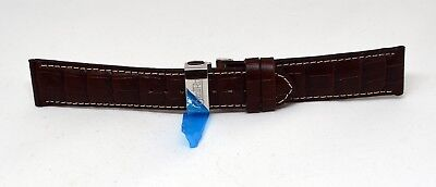Zentra Faltschließe Uhrenband Uhrenarmband Leder Braun 22mm Neu hochpreisig E627