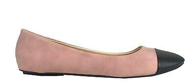 Qupid Women's Bee-53 Black Cap Toe Ballet Flat Shoes