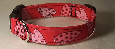 Wet Nose Designs Funny Valentine Textured Hearts Dog Collar Valentines Day Pink  - Valentine Dog