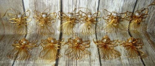 # AVON 11p LOT RADIANT ANGEL GOLD WIRE STAR CHRISTMAS ORNAMENTS 1997 VINTAGE x11