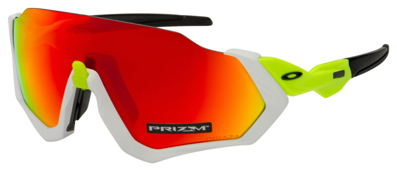 Oakley Flight Jacket Sunglasses OO9401-1237 White | Prizm Ruby Lens