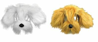 White Brown Shaggy Dog Mask With Sound On Headband Fancy Dress Costume Accessory