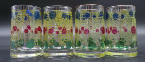 4 Vintage Bartlett Collins Fishnet Juice Drink Glasses Blue Red Green Dots 5 oz
