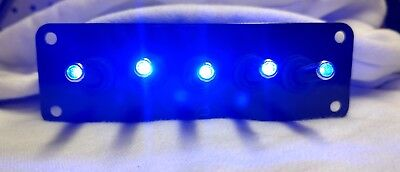 5 Hole Black Powder Coat Panel W 5 Led Toggle Switches - Blue