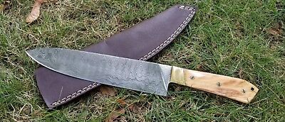 "Handmade 8"" Damascus Chef / Kitchen Knife in RoseWood Handle with Leather Sheath"