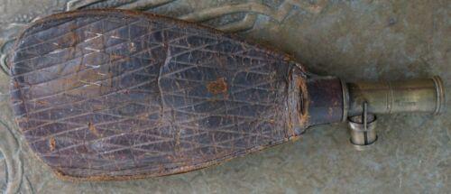 Early Antique SYKES PATENT Civil War Era BLACK POWDER Leather SHOT POUCH Flask