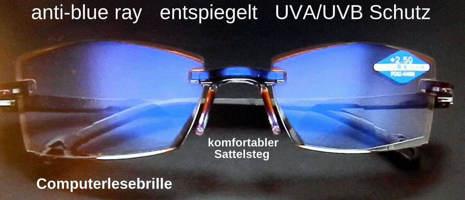 Computer Lesebrille Bifocal randlos Sattelsteg unisex Anti-Blu-Ray 14 gr.
