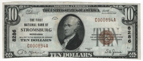 1929 T1 $10 FIRST NATIONAL BANKNOTE STROMSBURG NEBRASKA CIRCULATED VERY FINE(894