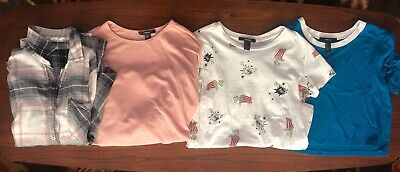 - Lot Forever 21 Shirts Size Small Plaid Flannel Cropped Tees Popcorn Blue Pink