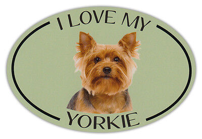 Yorkshire Terrier Dog Picture (Oval Dog Breed Picture Car Magnet - I Love My Yorkie (Yorkshire)