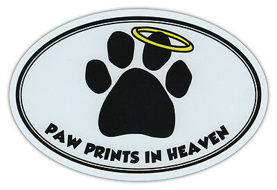 Oval Car Magnet - Paw Prints In Heaven - Dog/Pet Memorial - Bumper Sticker Decal ()