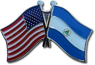 Wholesale Pack of 50 USA American Nicaragua Friendship Flag Hat Cap lapel Pin