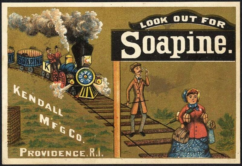 SOAPINE SOAP Kendall TRAIN Railroad Tracks People 1880