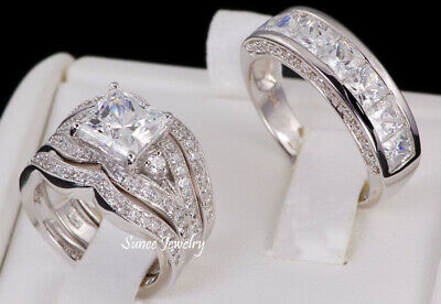 His & Hers 14k White Gold 925 Sterling Silver Wedding Band Engagement Ring Set   14k White Gold Set