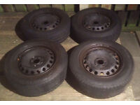 four 15 inch car wheels and tyres 100mm pcd renault vauxhall honda toyota volkswagen