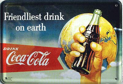 Blechpostkarte Coca-Cola - Friendliest Drink, 14,5 x 10 cm