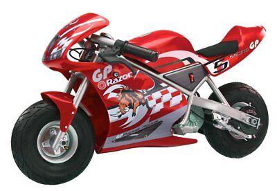 Razor Pocket Rocket 24 V Kids Mini Bike 15 MPH Ride On Electric Motorcycle, Red