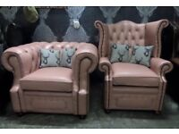 Stunning RARE Chesterfield Pink Club & Queen Anne Wing Back Chairs Leather - UK Delivery