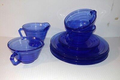 10 Pieces Hazel Atlas Cobalt Blue Moderntone Depression Glass