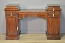 Attractive Antique Victorian Mahogany Twin Pedestal Sideboard Cabinet
