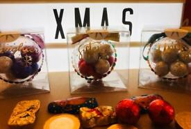 Xmas baubles by TJ Keepsakes