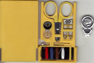 Travel - Compact - Hand Bag Size - Sewing Kit in Plastic Yellow Case