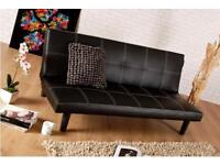 Single Faux Leather Sofa Bed in Black