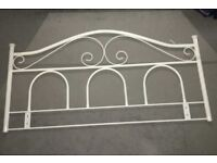 White metal wrought iron style DOUBLE BED HEADBOARD .vgc
