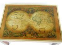 Vintage Campaign Style Mahogany Brass & Glass Coffee Table World Map Excellent Delivery at Cost