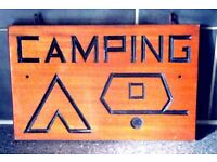 BESPOKE ONE OFF HAND CARVED CARAVANNING AND CAMPING SIGN-BRAZILIAN MAHOGANY