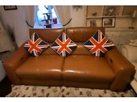 Like new 12 months old furniture village genuine tan leather electric reclining USB 2 seater sofa