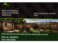 BRP GARDEN MAINTENANCE/MINI DIGGER AND DRIVER HIRE