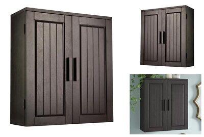 Bathroom Storage Cabinet Wall Mount Cupboard Wood Kitchen Bath Pantry Organizer