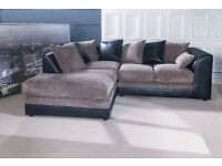 Brand New black and grey cord corner sofa. can deliver