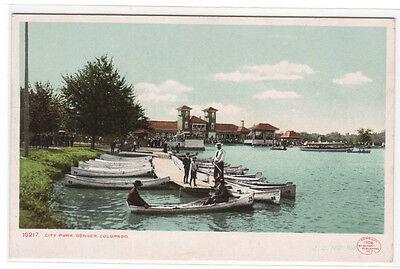 Canoe Boating City Park Denver Colorado 1907c postcard