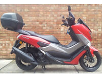 Yamaha NMAX 125 ABS (17 REG), Matt red with genuine Yamaha top and knuckle gu...