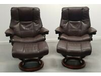 Ekornes Stressless 2 x swivel recliner leather chairs and Stools Brown 99208
