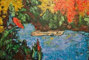 Oakville Original Painting Acrylic Large 36x24 BLUE LAGOON Thick mounted canvas Art Expressionist Koudelka New